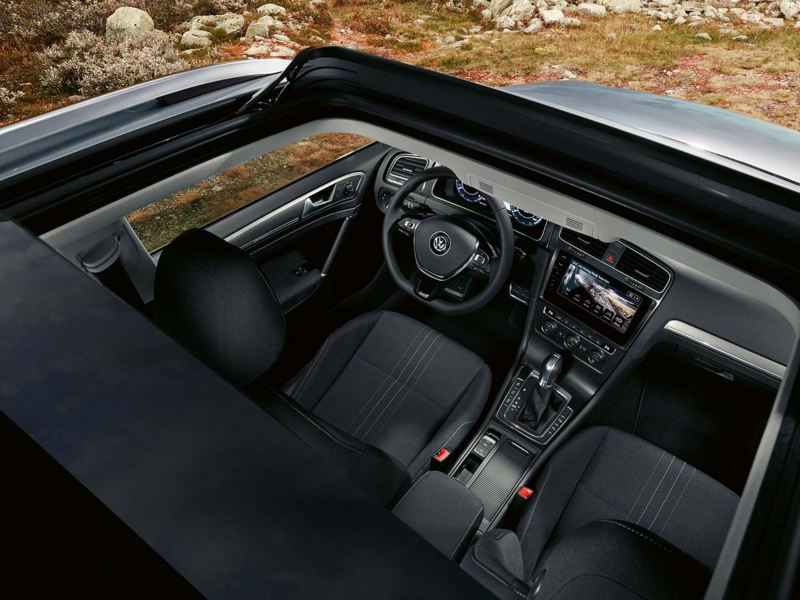 Volkswagen Golf's interior view from the sunroof