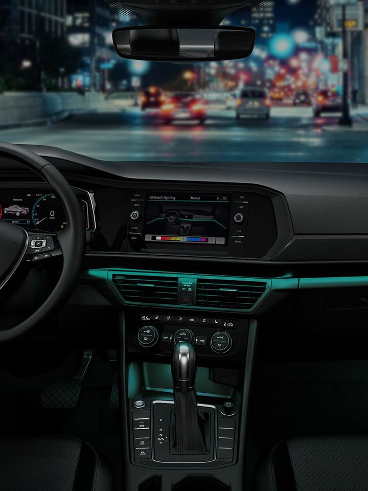 Teal ambient color in the Jetta