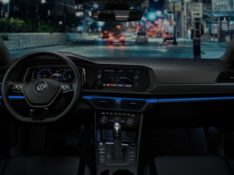Dark blue ambient color in the Jetta