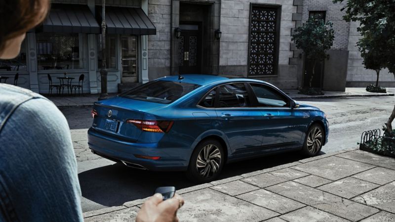 A 2020 Volkswagen Jetta from a distance - Blue Metallic