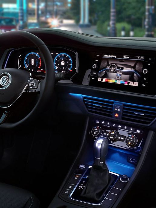The inside of the Jetta looks electric