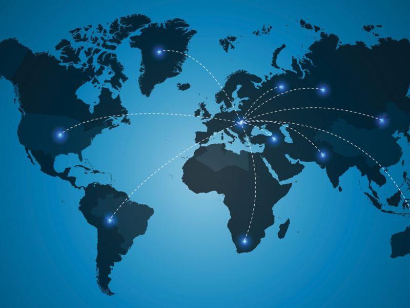 Illustration av en världskarta