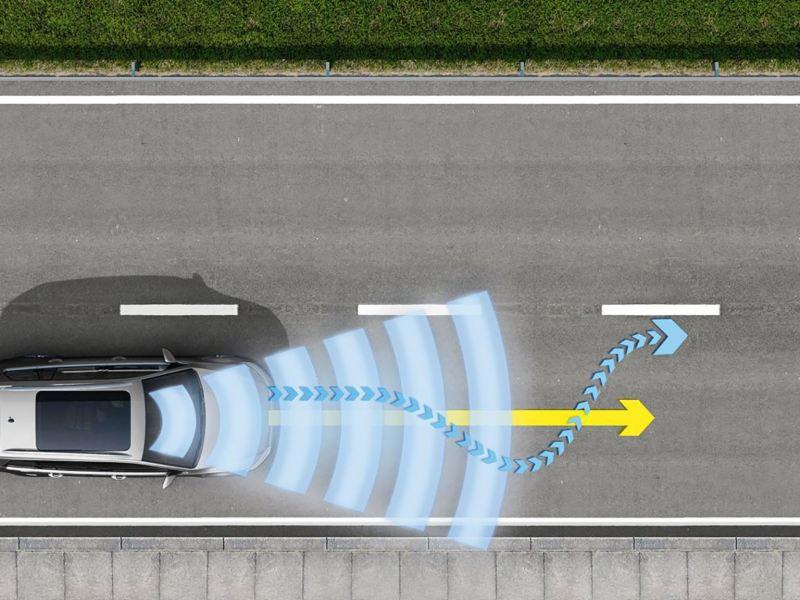 infografica sistema assistenza Lane Assist per e-Golf - Volkswagen