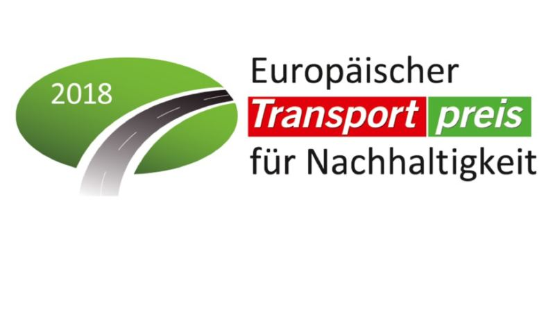 Das Logo des Europäischen Transportpreis für Nachhaltigkeit 2018.