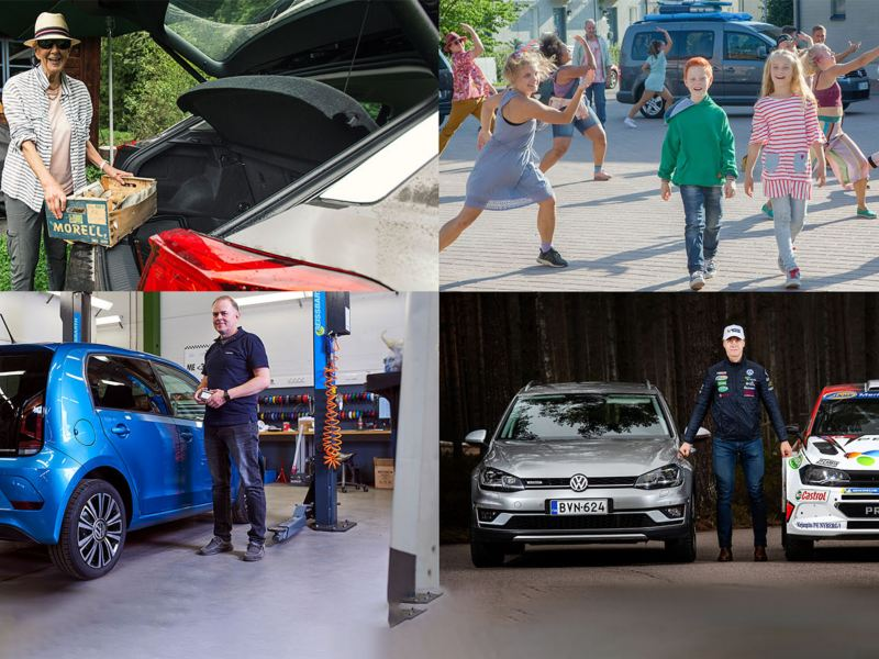 Kollaasi Volkswagen autoista ja iloisista ihmisistä, kuvissa erilaisia henkilöitä ja autoja