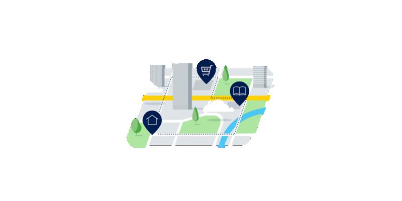 Illustrierte Karte mit Ladestationen an verschiedenen Orten