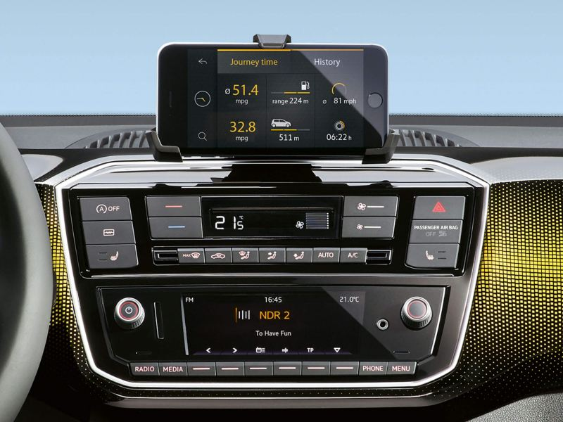 Interior shot of the radio system, inside a Volkswagen up!