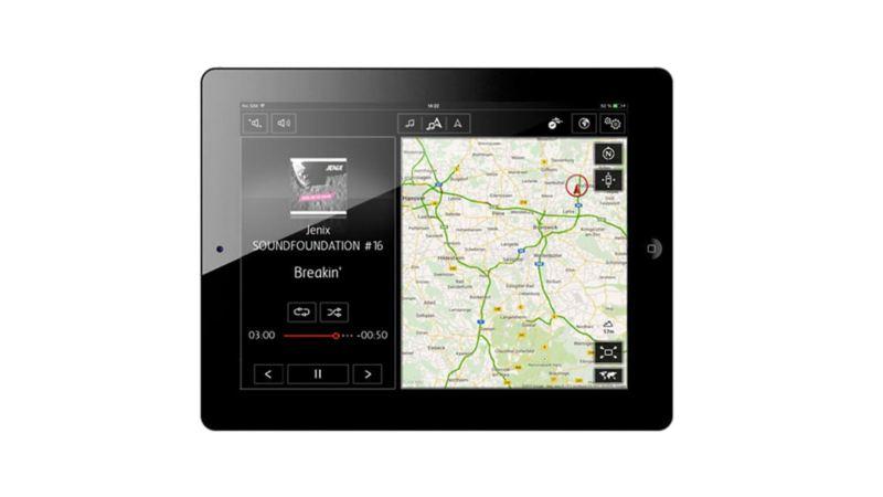 tablet con Volkswagen Media Control e mappa