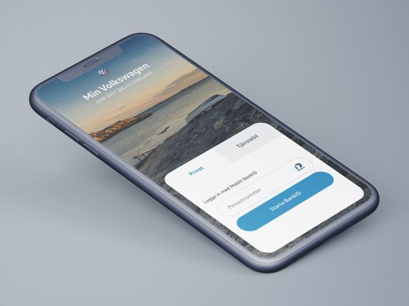 mobil där Min Volkswagen-appen visas