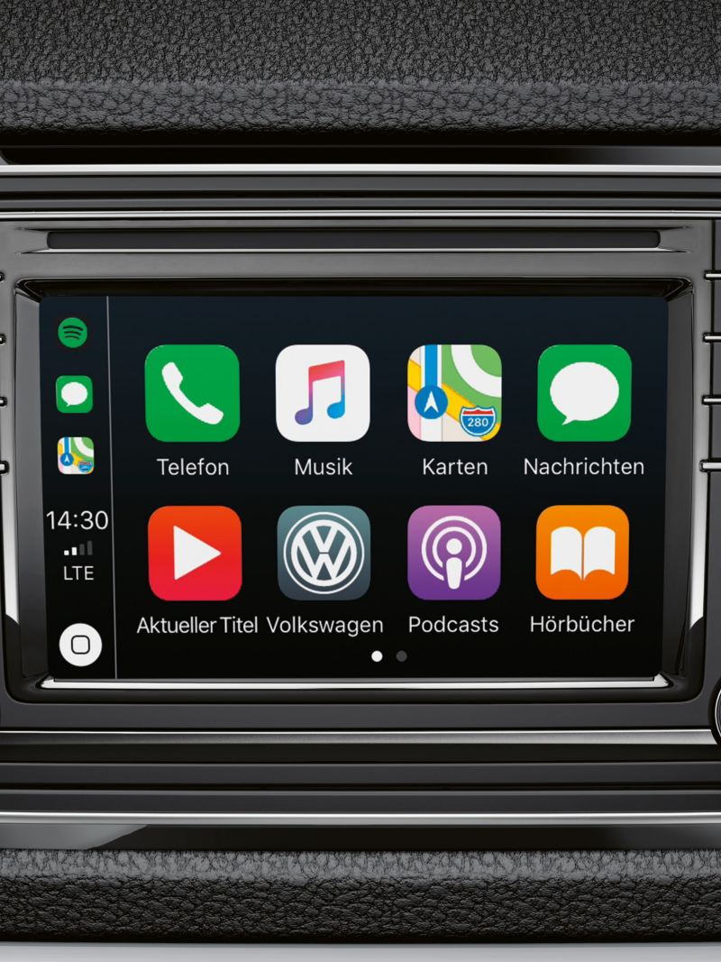The built-in display for the Infotainment system shows the most commonly used apps.