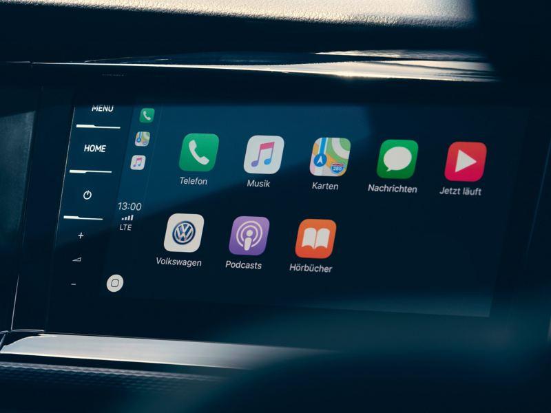 Apresentação em grande plano de um sistema de entretenimento da Volkswagen Veículos Comerciais.