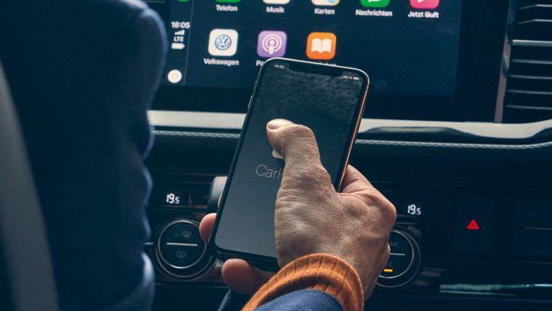 Apple CarPlay i en VW Multivan minibuss