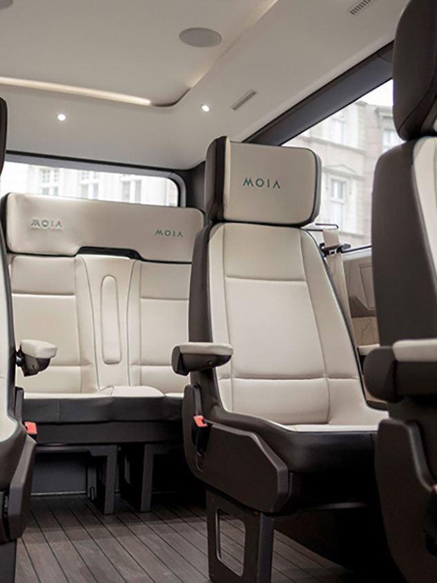 Volkswagen MOIA, eldriven samåkningsbuss, interiör