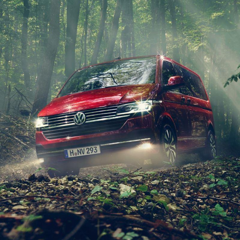 Ein Volkswagen Multivan 6.1 fährt durch einen Wald.