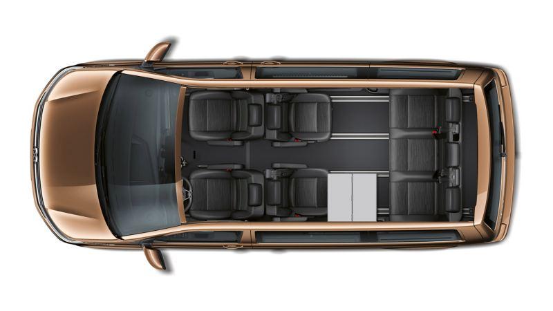 vw Volkswagen brun Multivan 6.1 Highline 7-seter familiebil minivan maxitaxi persontransport seteløsninger fleksibelt skinnesystem 3-seters benk og bord