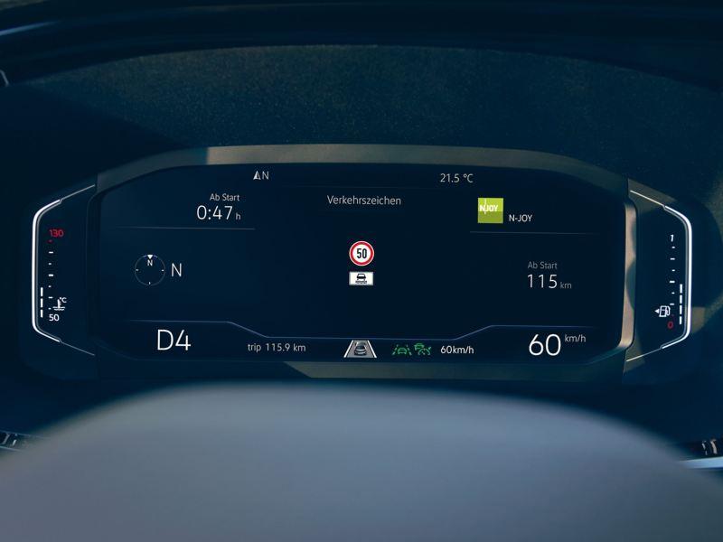 Vista frontal do digital cockpit da VW.