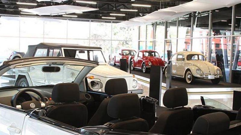 Exposición de autos clásicos dentro de exhibición en Museo Volkswagen