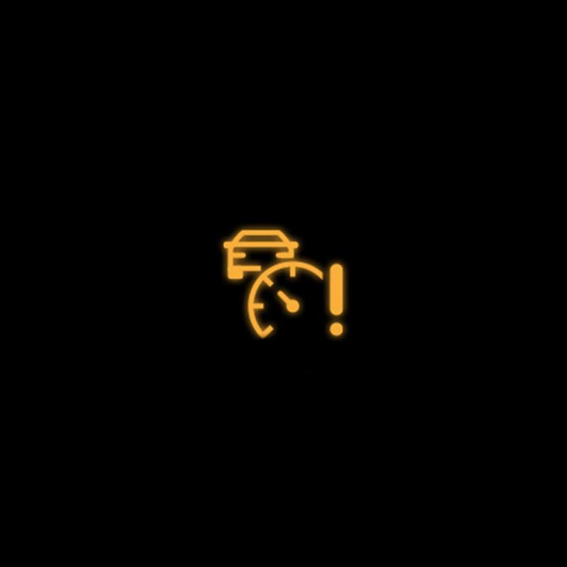 Yellow adaptive cruise control warning light