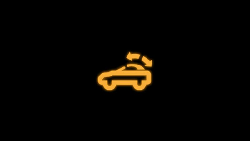Yellow convertible roof warning light