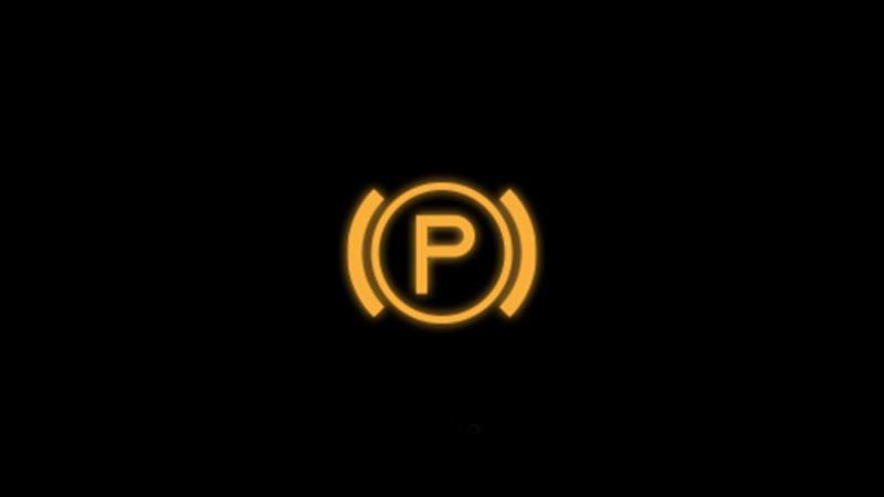 Yellow electronic brake warning light