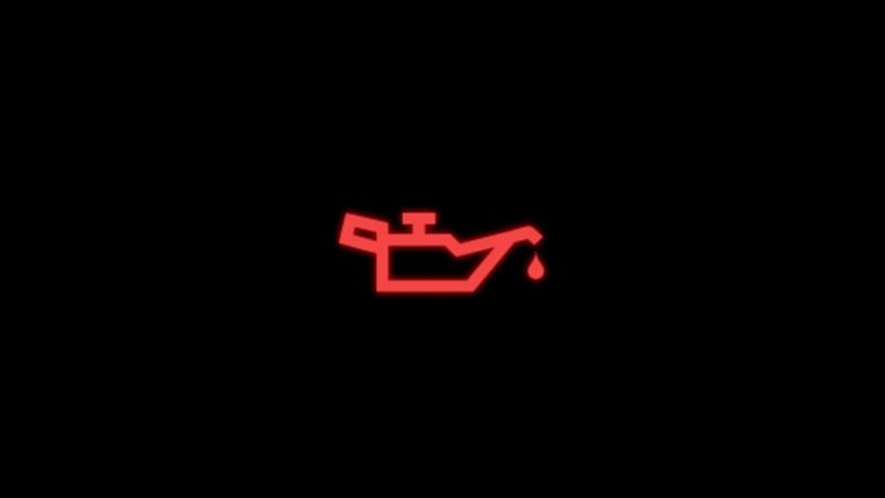 Red engine oil pressure warning light