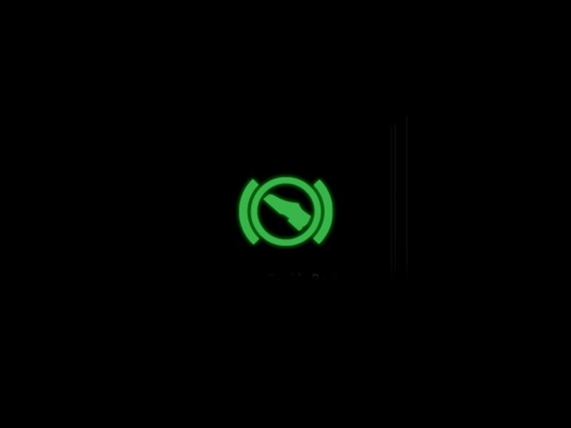 Green press brake pedal warning light