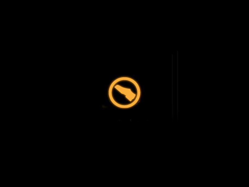 Yellow press clutch pedal warning light