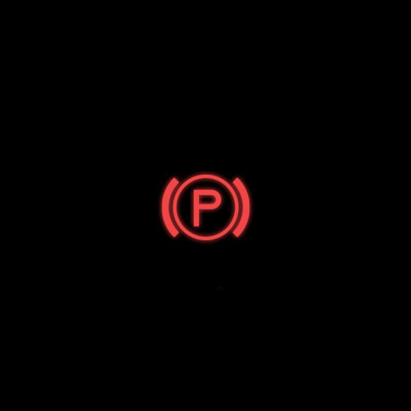 Red electronic parking brake warning light