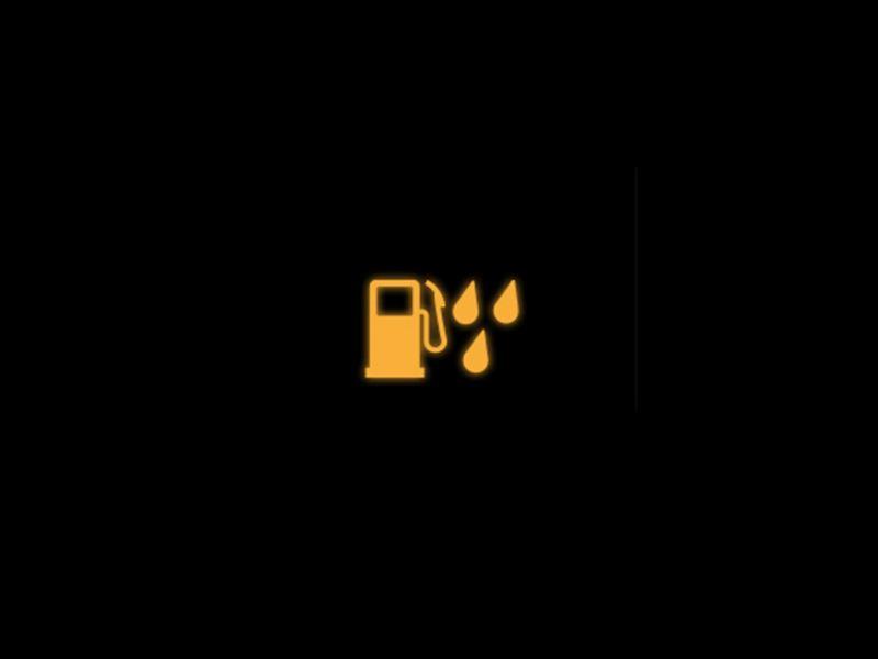 Yellow water in a diesel fuel tank warning light