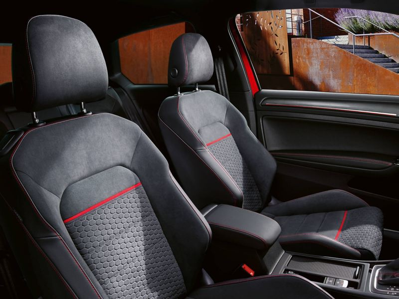 Interior shot of the Volkswagon Golf GTI, grey fabric driver and front passenger seats.