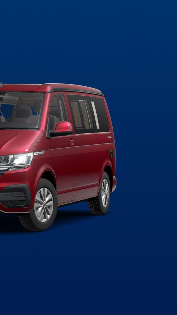 Red VW California 6.1 Coast camper van in on blue background