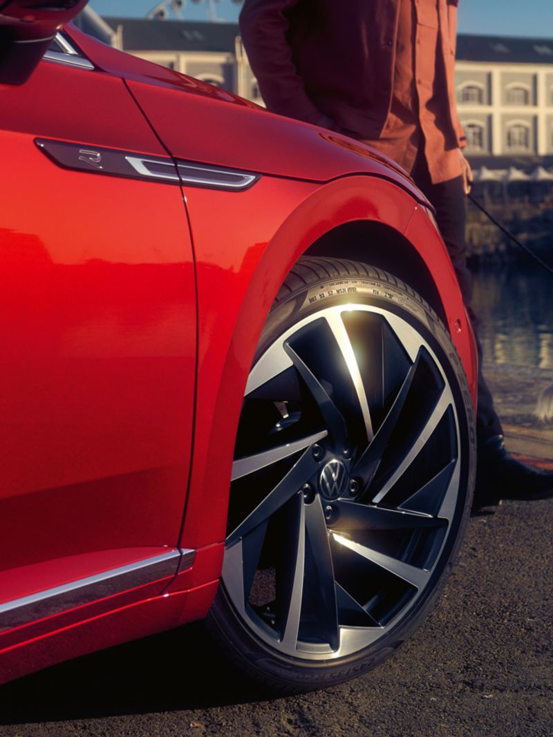 Close up of a sporty and elegant light alloy wheel