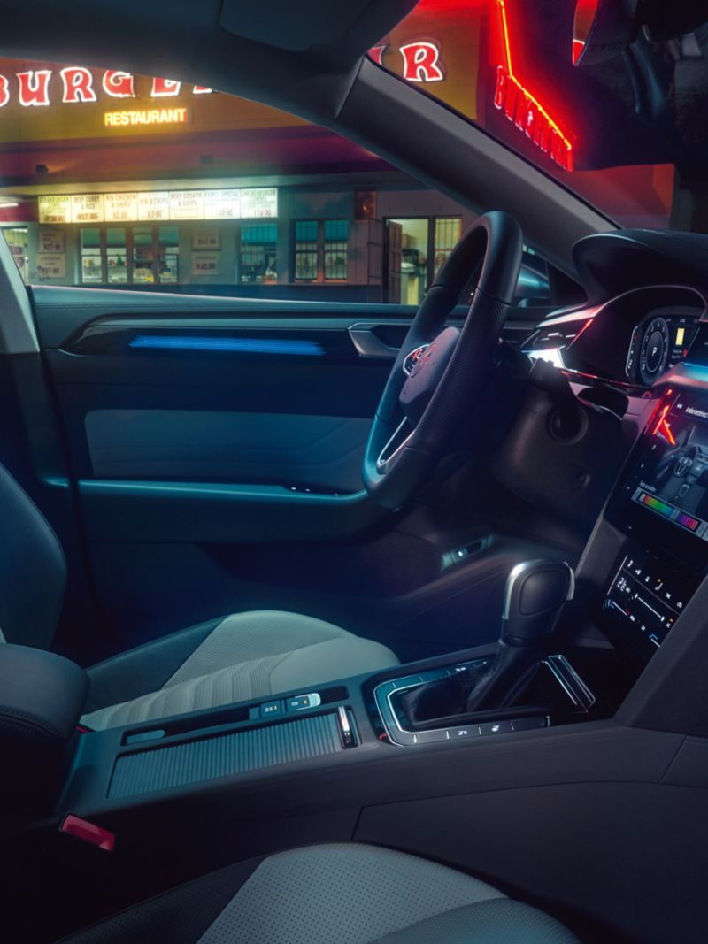 Showing the interior lighting in the Arteon
