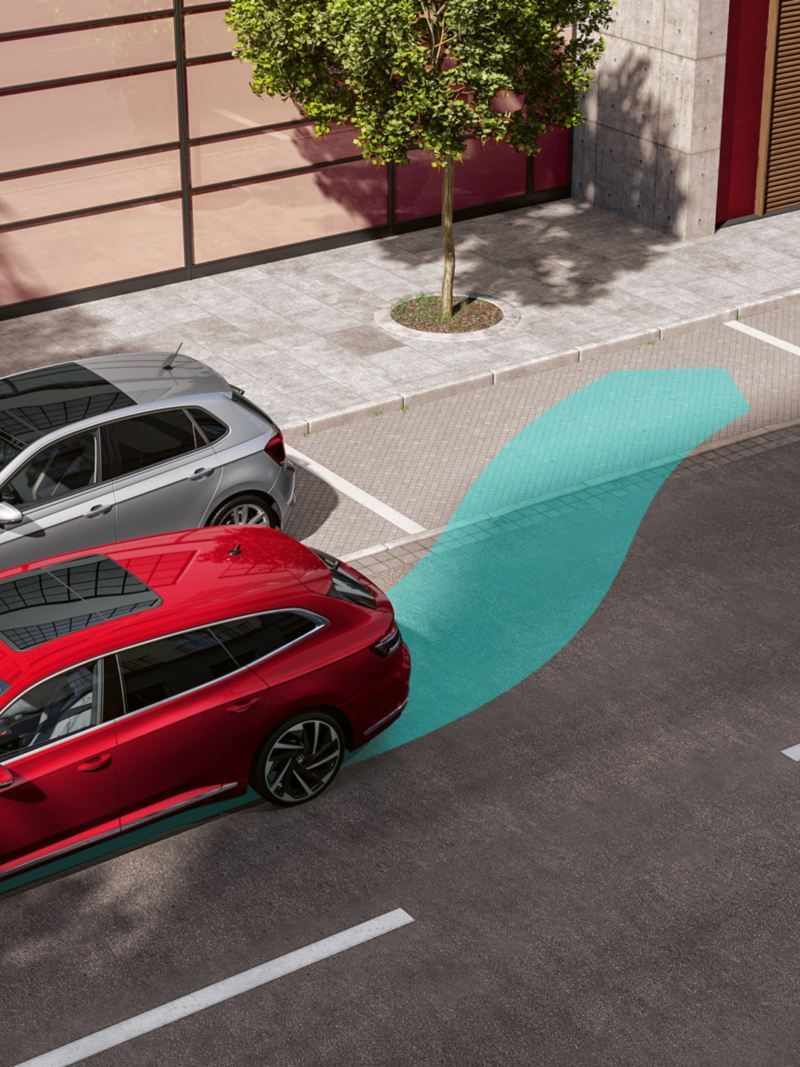A graphic of the Arteon Shooting Brake 'Park Assist'