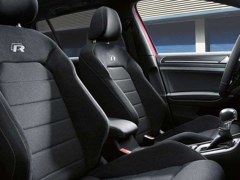 Interior shot of a Volkswagen Golf R.