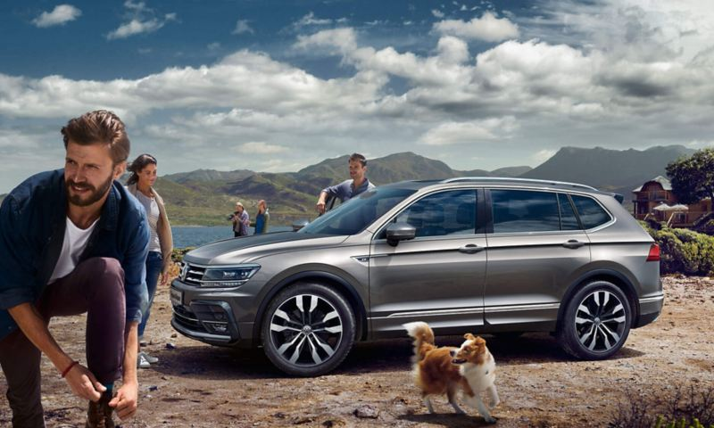A silver Volkswagen Tiguan Allspace parked in the mountains near a lake with people walking around with a happy dog