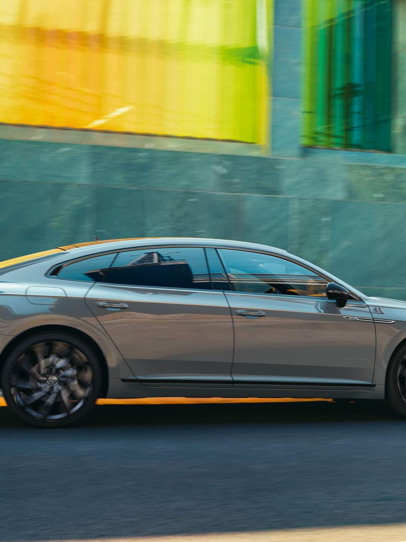 A grey Arteon R-Line Edition in motion