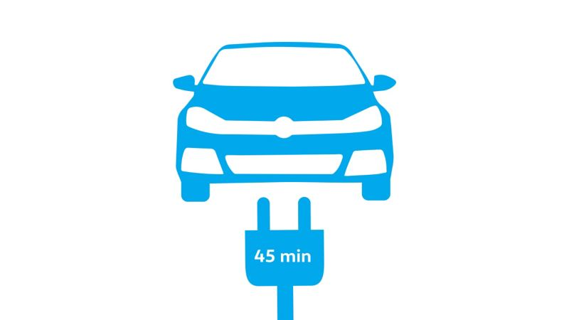 Diagram demonstrating how quick it is to charge an e-Golf