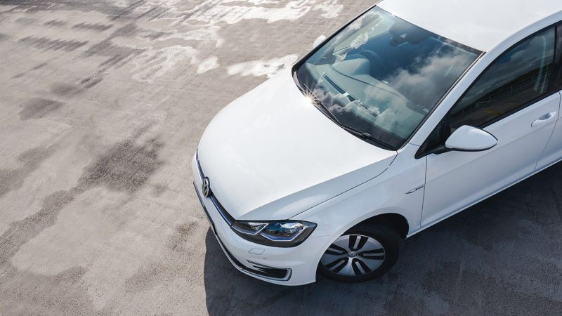 Top shot of a white Volkswagen e-Golf.