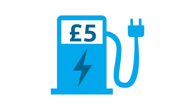 Diagram showing how economical it is to charge an e-Golf