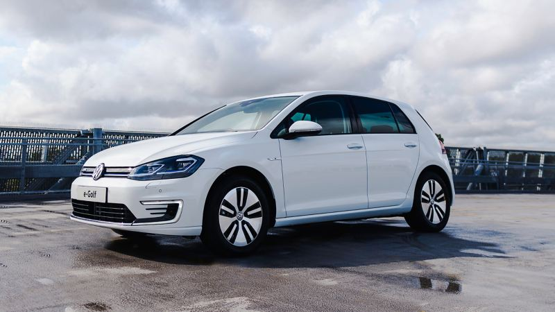 3/4 front shot of a white Volkswagen e-Golf.