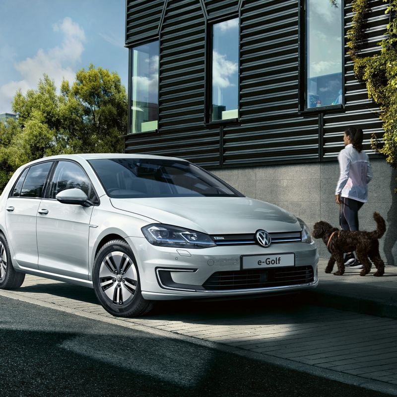 White Volkswagen e-Golf driving near a city river, with a pedestrian walking their dog alongside.