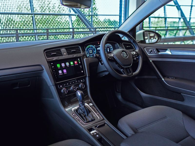 The interior of a Volkswagen e-Golf.