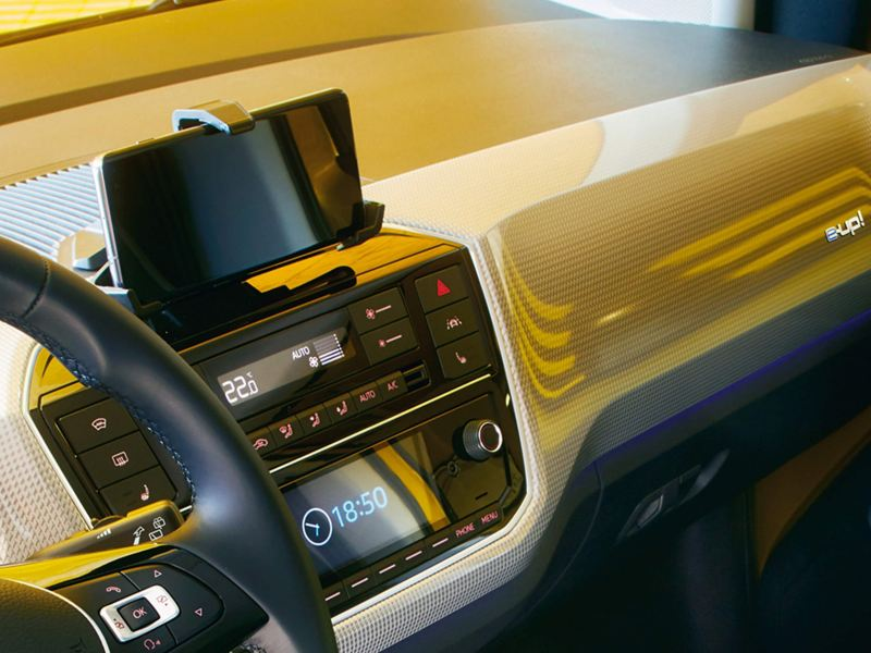 The interior of a yellow new e-up!