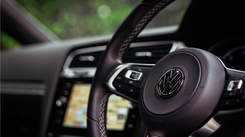 Steering wheel of a Volkswagen Golf