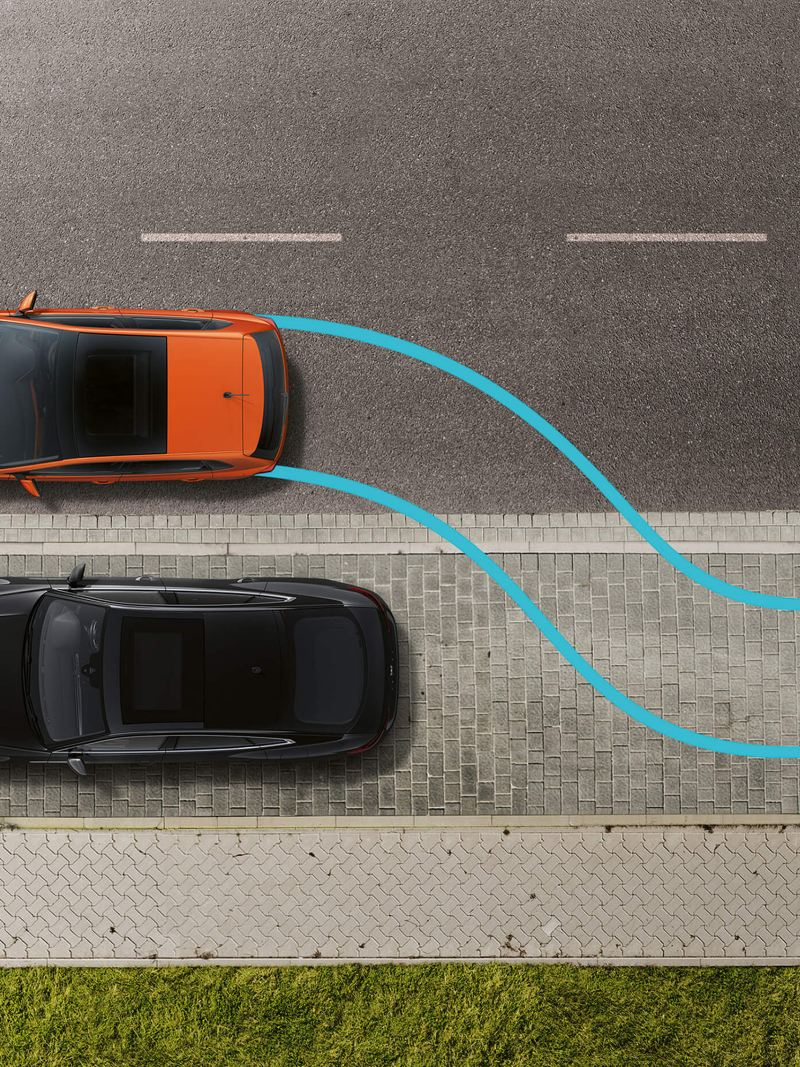 Parking sensors, detecting other vehicles, shown in an arial shot.