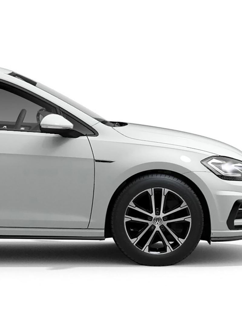 Side view of the white Volkswagen Golf R-Line