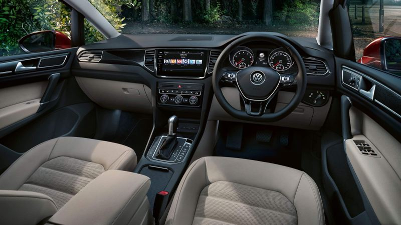 Interior shot of the Volkswagon Golf SV dash board and steering wheel