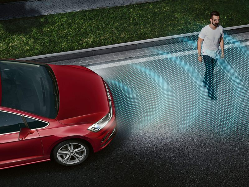 The Volkswagen Golf SV's pedestrian monitoring system in action.