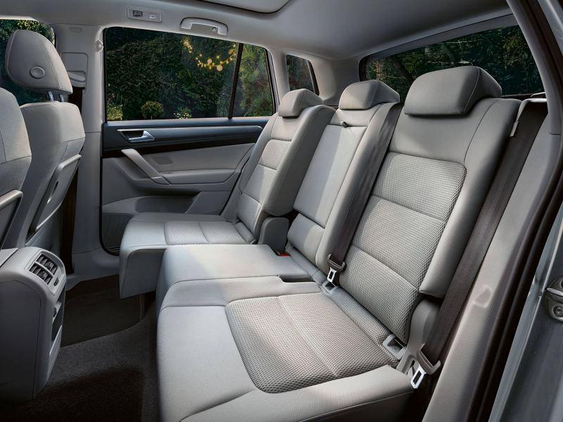 Interior shot of the back passenger seats of the Volkswagen Golf SV.